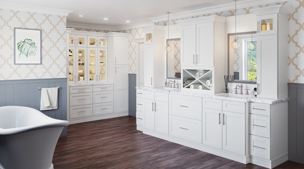 white bathroom cabinet with carrara marble vanity top