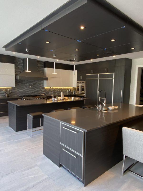 Dark Wood Grey Kitchen